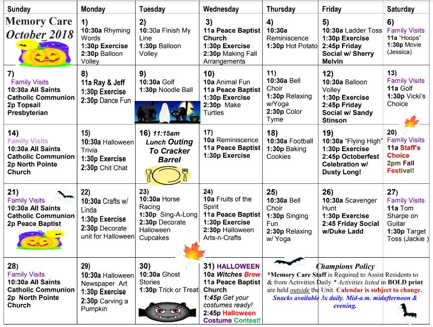 memory care calendar at davis community